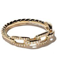 David Yurman 18kt yellow gold Stax single row pavé diamond chain link ring - Multicolore