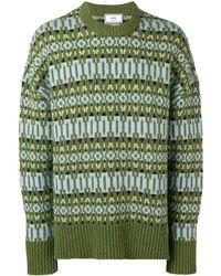 AMI Crew Neck Sweater Nordic Jacquard Pattern - グリーン