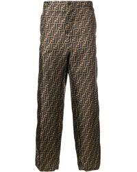 Fendi FF logo patterned trousers - Marron