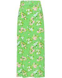 BERNADETTE Small Roses Print Midi Skirt - Green