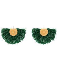 Katerina Makriyianni Wool Fan Earrings - Green