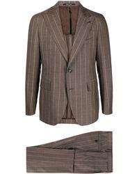 Tagliatore Einreihiger Anzug mit Nadelstreifen - Braun