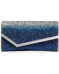 Jimmy Choo 'Emmie' Clutch mit Glitter - Blau