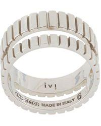 Ivi Skinny Slot Double-band Ring - Metallic
