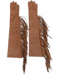 Manokhi Перчатки С Бахромой - Коричневый