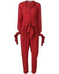 Stella McCartney Jumpsuit Met Gestrikte Taille - Rood