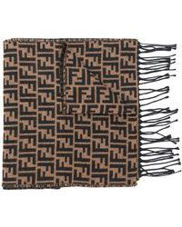 Fendi Ff Logo Knit Scarf - ブラウン
