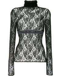 Dolce & Gabbana Кружевной Топ С Логотипом - Черный