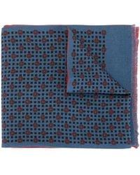 Kent & Curwen Geometric Print Reversible Scarf - Blue
