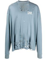 Unravel Project ダメージ スウェットシャツ - ブルー