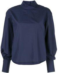 Calvin Klein Long-sleeve Poplin Top - Blue