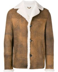 DESA NINETEENSEVENTYTWO Shearling Single-breasted Coat - Brown