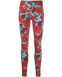 LaDoubleJ Floral-print leggings - Red