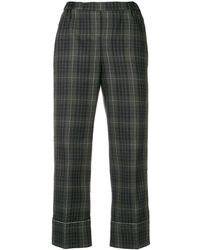 N°21 Checked Print Cropped Trousers - Groen