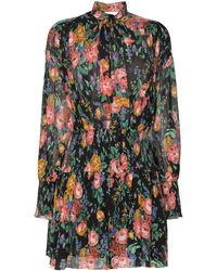 Zimmermann Allia Shirred Tie Neck Floral Silk Blend Mini Dress - Black