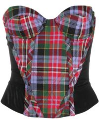 Vivienne Westwood Check Strapless Top - Red