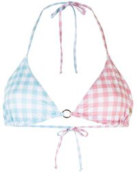 Fiorucci Top de bikini a cuadros gingham - Azul