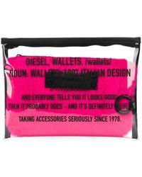 DIESEL Transparent Printed Make Up Bag - White