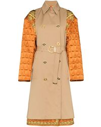 Versace Quilted Sleeve Baroque Trench Coat - Brown