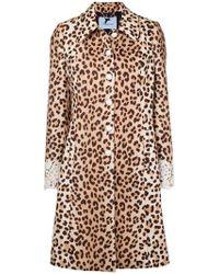 Blumarine - Leopard Print Lace Trim Coat - Lyst