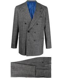 Kiton Doppelreihiger Anzug mit Streifen - Grau