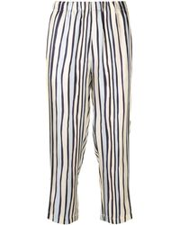 Marni Striped Cropped Trousers - Blue