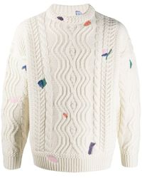ADER error Embroidered Cable-knit Sweater - Multicolour