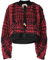 N°21 Tweed Bomber Jacket - Black