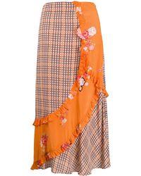 Preen Line Nevah チェック スカート - オレンジ
