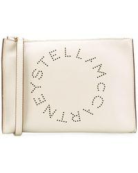 Stella McCartney Клатч С Перфорированным Логотипом - Белый