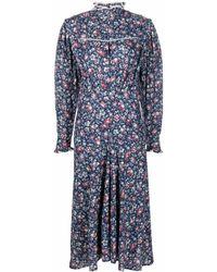 Étoile Isabel Marant Floral-print High-neck Dress - Blue