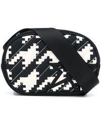 Perfect Moment Geometric Houndstooth Print Belt Bag - Black