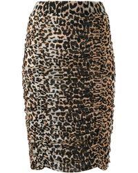 Ganni Leopard Print Ruched Pencil Skirt - Black