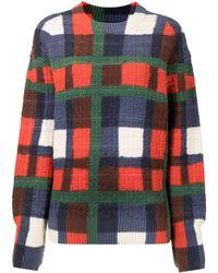 Coohem Check Knit Sweater - Blue