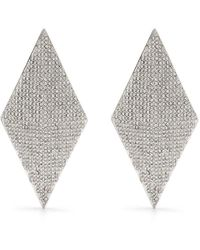 Alexandre Vauthier Crystal-embellished Diamond-shape Earrings - Metallic
