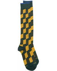 Altea Geometric Pattern Ankle Socks - Green