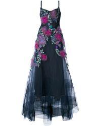 Marchesa notte Robe longue à fleurs brodées - Bleu
