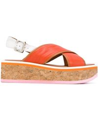 Robert Clergerie Urcy Flatform Cork Sandals - Orange