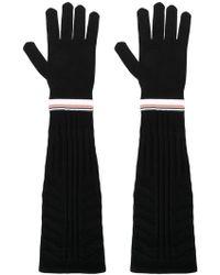 Prada - Stripe Trim Long Ribbed Gloves - Lyst