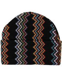 M Missoni Zig-zag Embroidered Beanie - Black