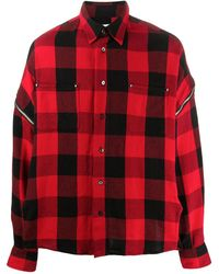 Facetasm オーバーサイズ チェックシャツ - レッド