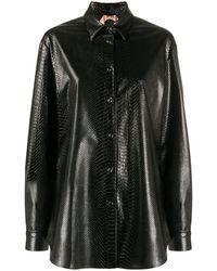 N°21 スネークスキンパターン シャツ - ブラック