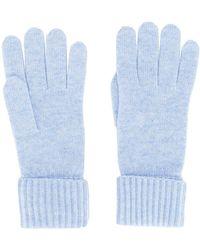 N.Peal Cashmere Ribgebreide Handschoenen - Blauw