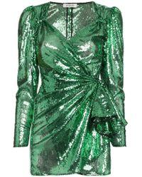 Attico - Sweetheart Sequin Draped Mini Dress - Lyst