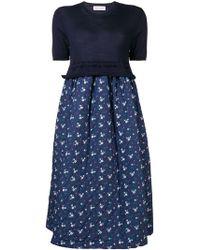 Comme des Garçons - Floral Print Quilted Skirt Dress - Lyst