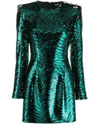 Balmain Платье С Зебровым Узором И Пайетками - Зеленый