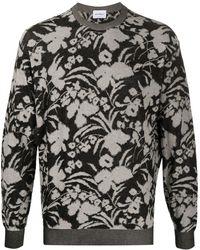 Ferragamo Floral-jacquard Cotton Sweatshirt - Black