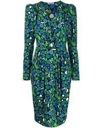 P.A.R.O.S.H. Платье С Запахом И Принтом - Зеленый