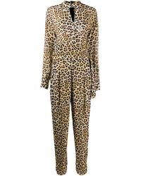 Boutique Moschino レオパード ジャンプスーツ - ブラウン