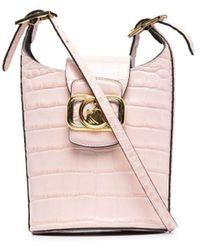 Lanvin Swan エンボス バケットバッグ - ピンク